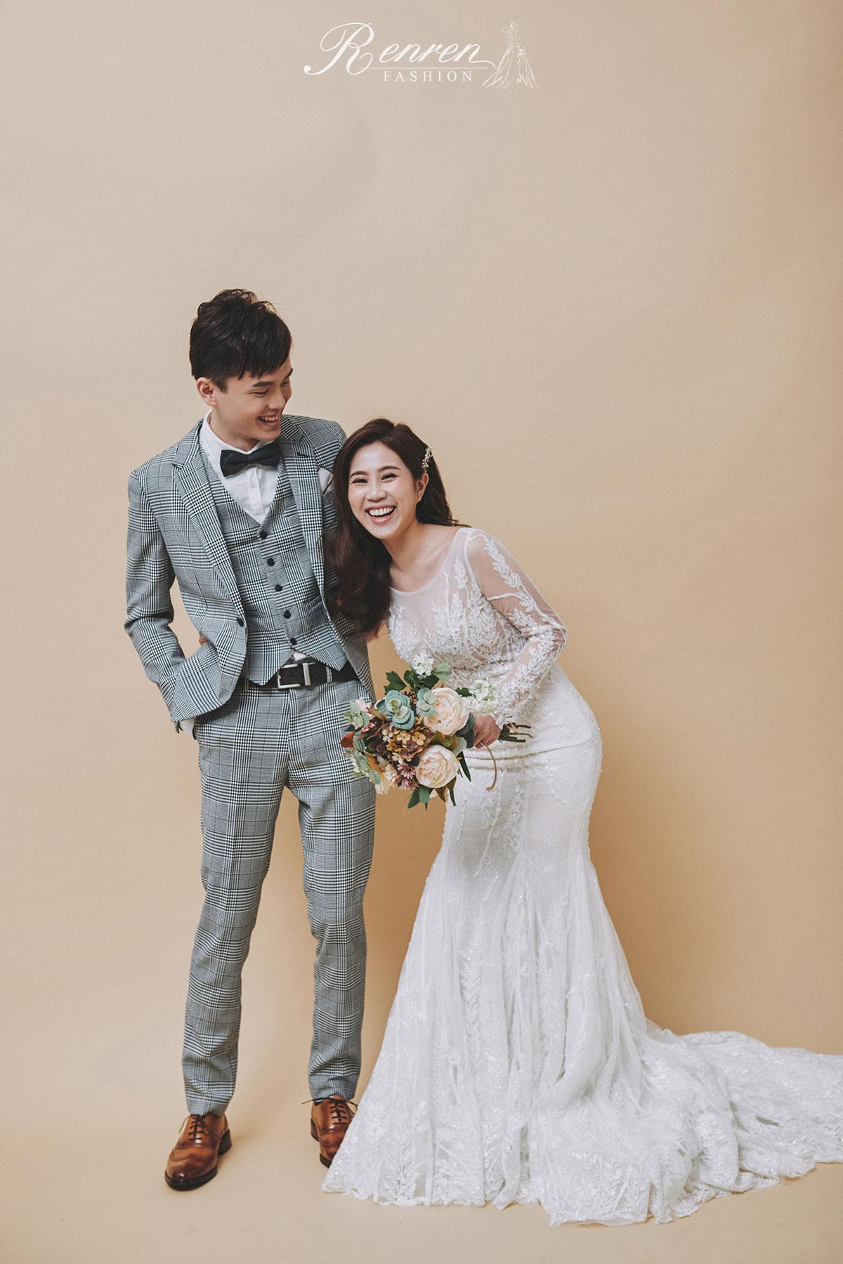 台中 清新 美式婚紗-素色背景-婚紗