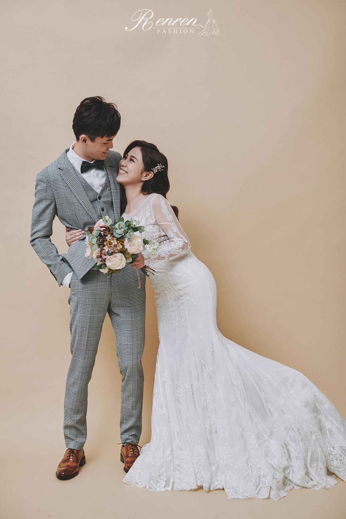 台中 清新 美式婚紗-素色背景-清新-婚紗
