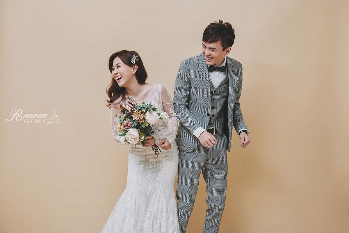 台中 清新 美式婚紗-素色背景-自然-婚紗